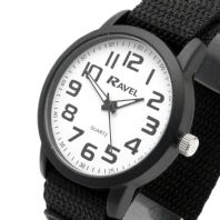 Ravel Mens Clear Easy-Read Watch Large Numbers Hook & Loop Strap 1601.64.32
